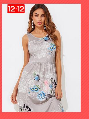 SHEIN فستان طباعة زهور عالي الوسط بجيوب