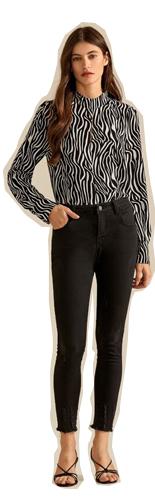 SHEIN Зебровая полосатая блуза с застежкой