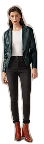 SHEIN Двубортный пиджак из искусственной кожи с оригинальным вырезом