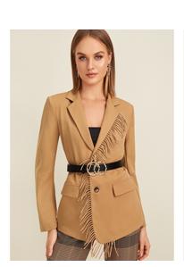 SHEIN Пиджак с бахромой без пояса