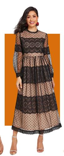Прозрачное сетчатое платье с фестончатым краем