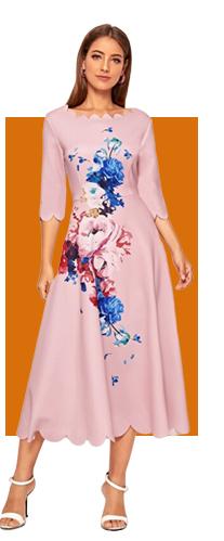 SHEIN Цветочное расклешенное платье с фестончатым краем