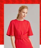 SHEIN Премиум Неоновое красное платье с поясом