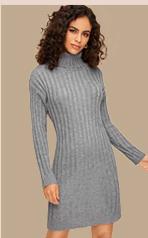 Свитер-Платье С Высоким Вырезом Без Пояса