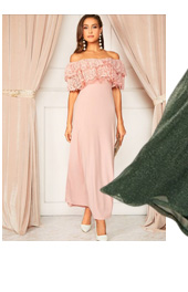 SHEIN Платье С Открытыми Плечами И Многослойными Оборками