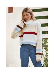 Контрастный вязаный свитер с высоким вырезом