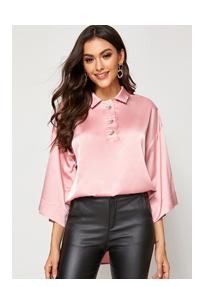 SHEIN Атласная блуза с пуговицами и разрезом