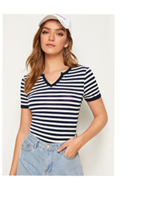 SHEIN Полосатая футболка с разрезом на воротнике