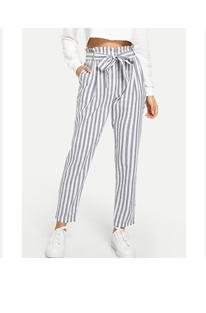 Полосатые брюки униформы с поясом и оборкой