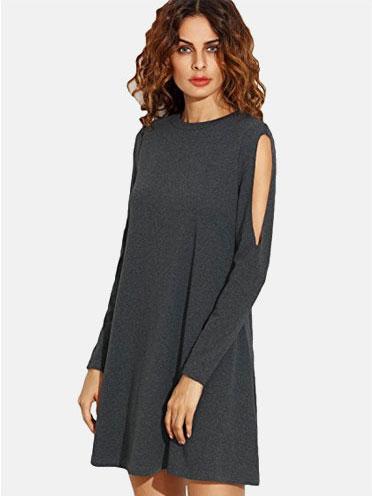 30f40bb0a14d2 $9.99, SheIn Women's Crew Neck Cut Out Long Sleeve Shift Dress