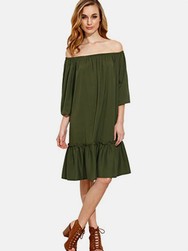 11b2e8d955 SheIn Women's Off Shoulder Ruffle Trim Knee Length Dress