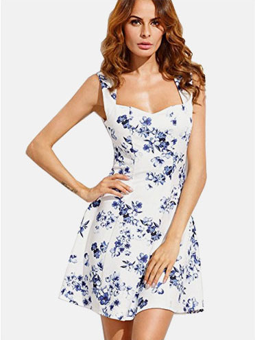 f2fb17b8db $13.99, SheIn Women's Floral Print Sweetheart Sleeveless A-line Dress