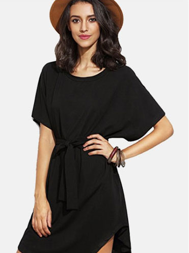 baf180cb77 SheIn Women's Short Sleeve Self-Tie Waist Dolman Dress