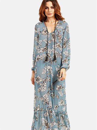 d4ddb3c26c $17.99, SheIn Women's Floral Print Long Sleeve Loose Sheer Maxi Dress