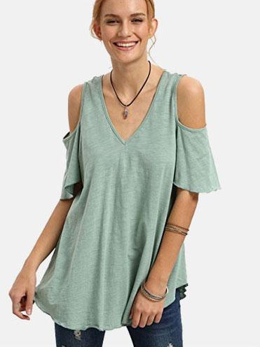 51e70c993c $13.99, SheIn Women's Cold Shoulder V Neck Short Sleeve Tnice T-shirt